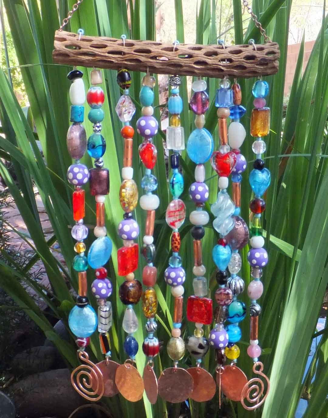 glass wood copper bead wind chime sun catcher