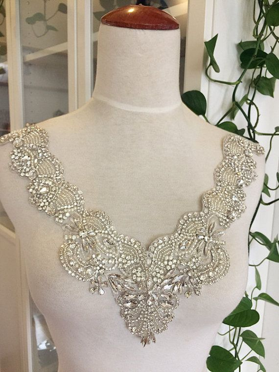 1379ef2beb Rhinestone Applique Bridal , Neckline Collar Cyrstal Pearl Beaded ...