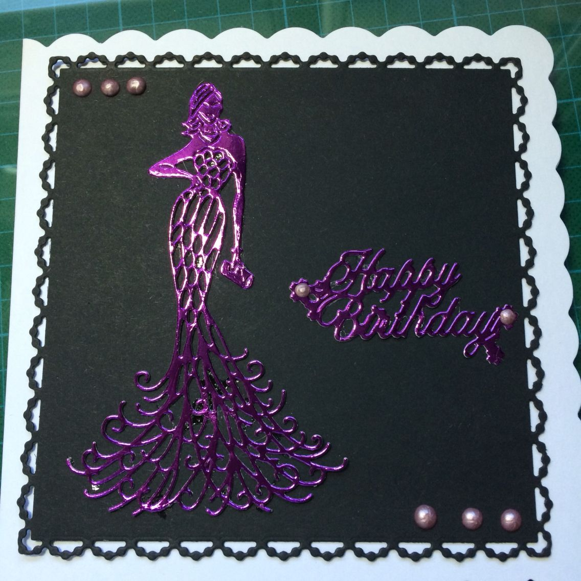 birthday card with tattered lace lady  cards handmade