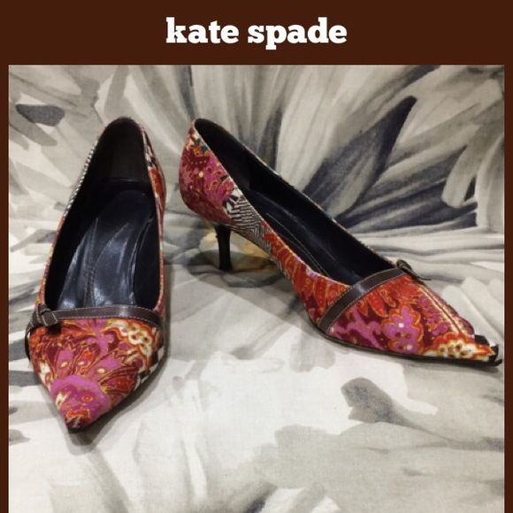 "Kate Spade Paisley Kitten Heel 2"" kitten heel.  A couple songs in the heels, some fading to the paisley print fabric and some wear on the leather trim.  No other notable flaws.  Clean and with a lot of wear left to them.  **  Prices are as listed- Nonnegotiable.  I'm happy to bundle to save shipping costs, but there are no additional discounts.  No trades, paypal or condescending terms of endearment  ** kate spade Shoes Heels"