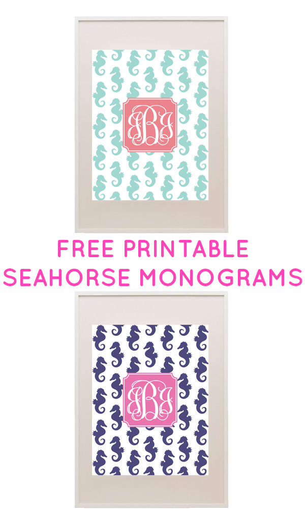 graphic relating to Printable Monogram Maker identified as No cost Seahorse Printable Monogram Producer versus