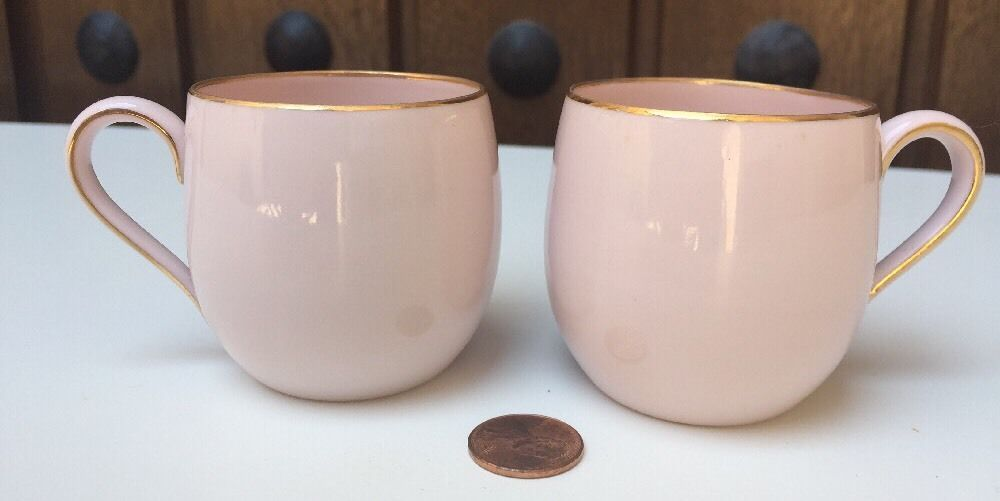 Pair Light Pink Koran China Made In Occupied Japan Cups Gold
