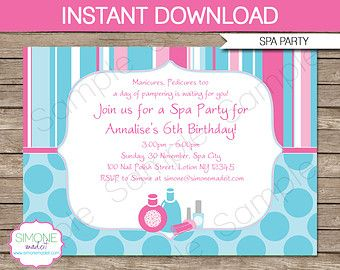 Spa Party Invitation & Decorations Spa Birthday by printmagic