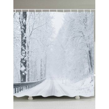 Free Shipping 2018 Snow Forest Road Print Waterproof Bathroom