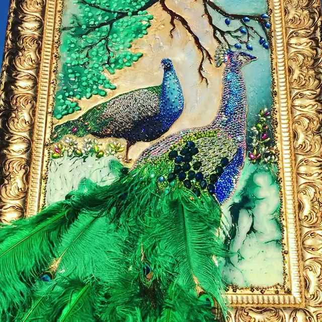 Embellished peacock art   Luxury Lifestyle   Slaylebrity is part of Peacock art - Embellished peacock art  Rejuvenate your walls in an instant with this gorgeous Slay my art Embellished Peacock Art  A striking peacock dominates