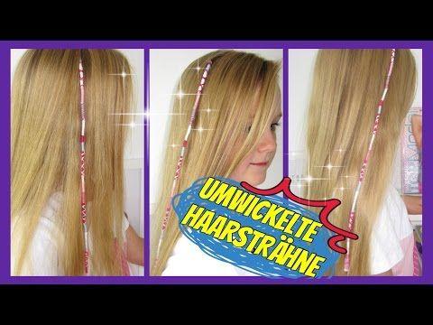 Mit Garn Bunt Umwickelte Haarsträhne Urlaubshaarsträhne