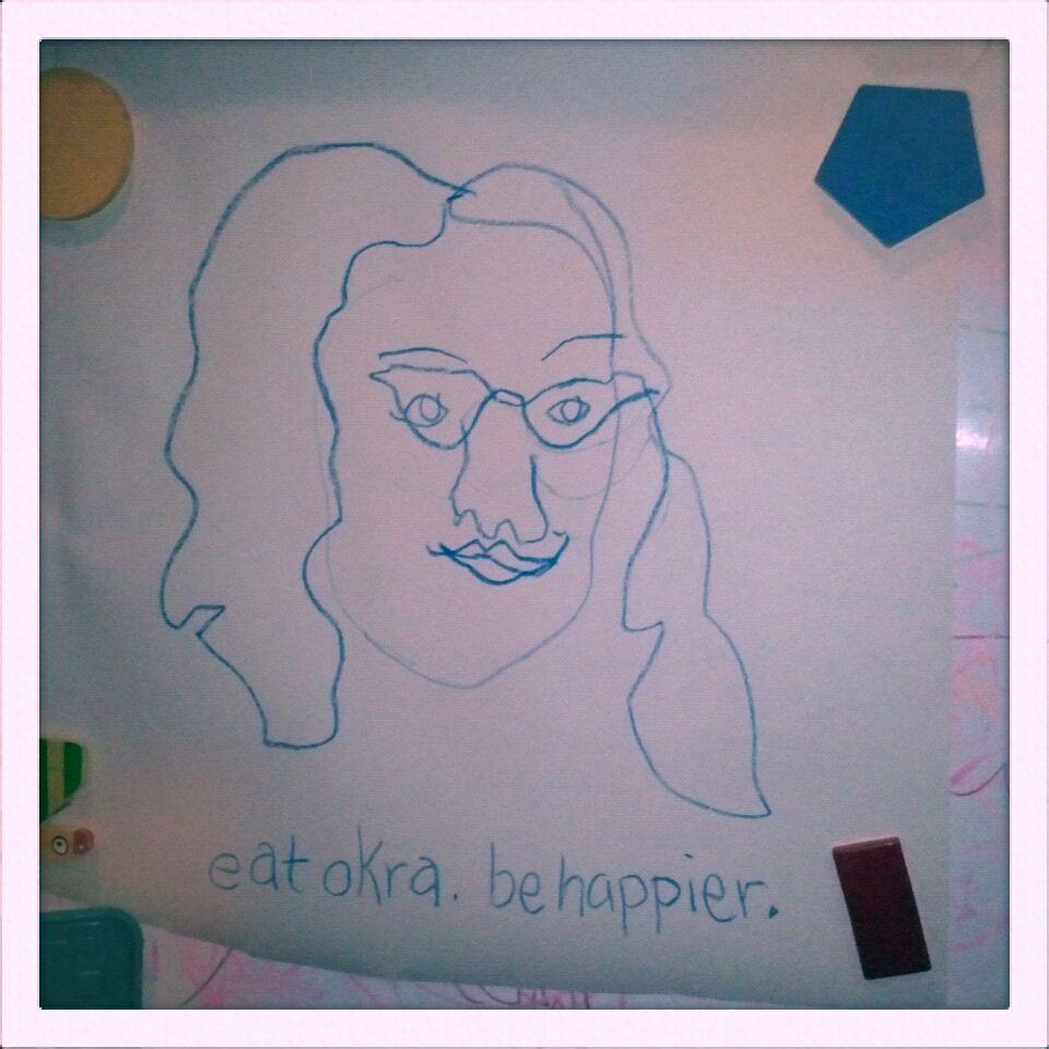 self-portrait; mantra  blue crayola on paper