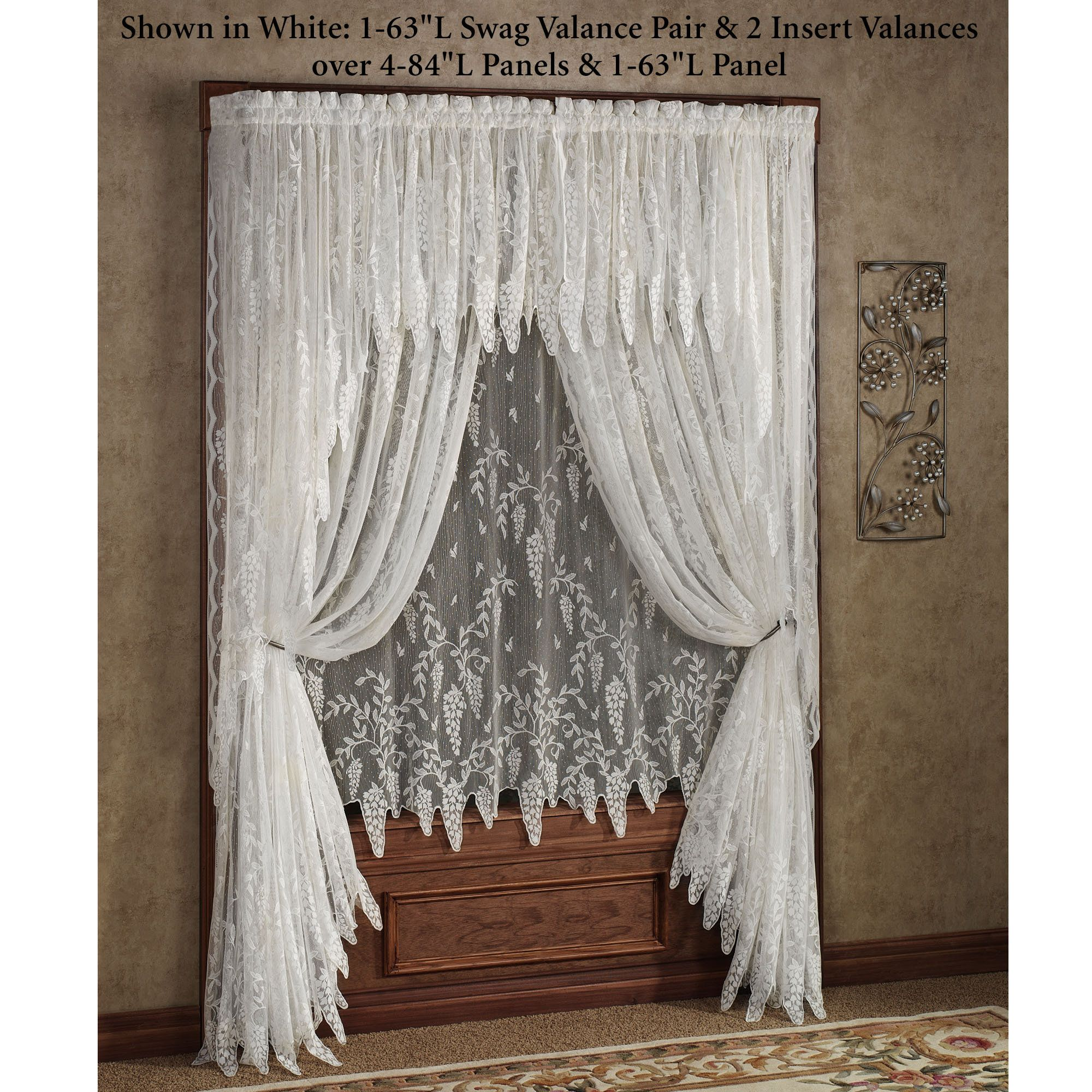 tiers bough pine lace sheer kitchen zoom products valance fashions home curtain lorraine and