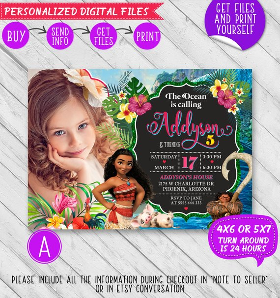 Moana Birthday Invitation Party Invite Birthd