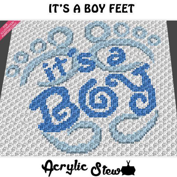IT/'S A BOY FOOTPRINTS Graph Pattern Crochet Patterns