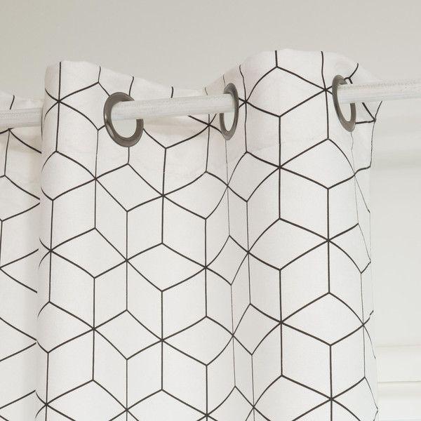 rideau en tissu blanc noir 135 x 250 chambre gar on. Black Bedroom Furniture Sets. Home Design Ideas