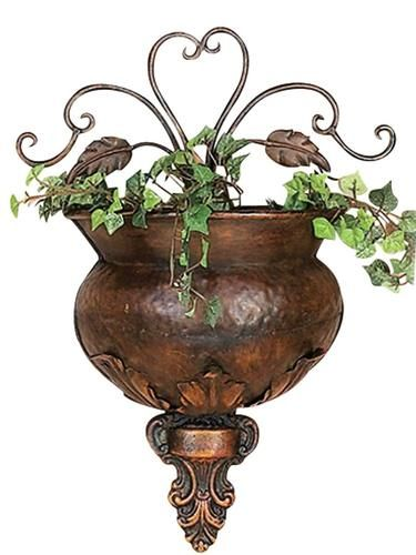 Antique Metal Gold Wall Flower Pots Scrolled Vintage Garden Urn Planters Set Wall Planter Metal Wall Planters Gold Wall Flower