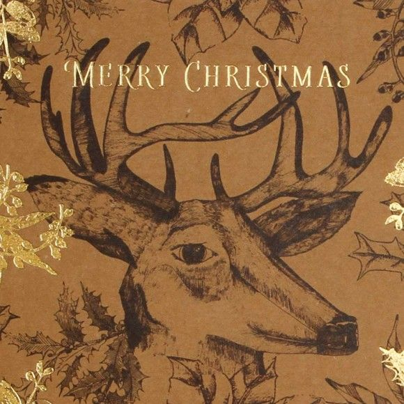 Woodland stags kraft charity Christmas cards - pack of 8