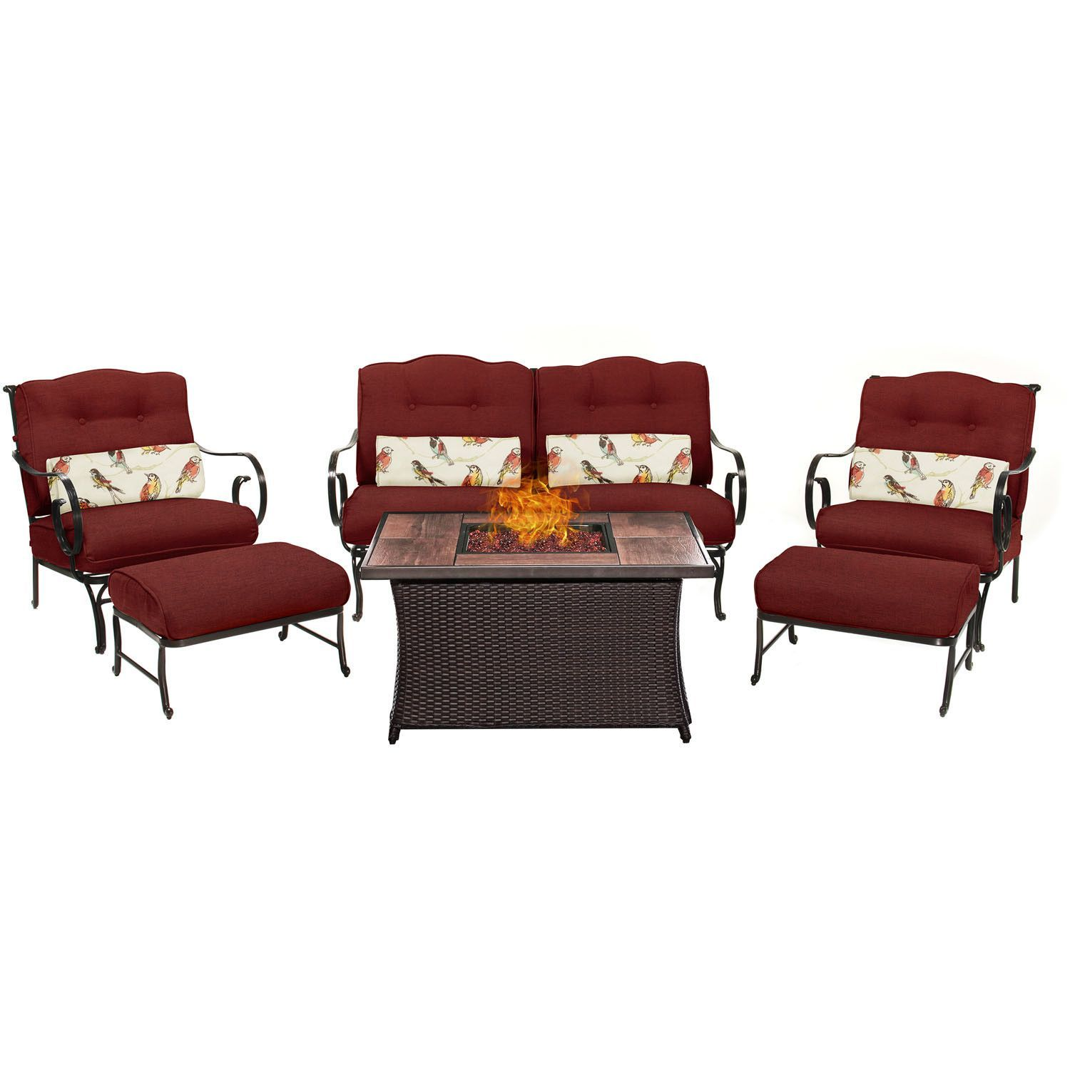 Oceana 6pc Fire Pit Set with Wood Grain Tile Top - OCE6PCFP-RED-WG - Crimson Red