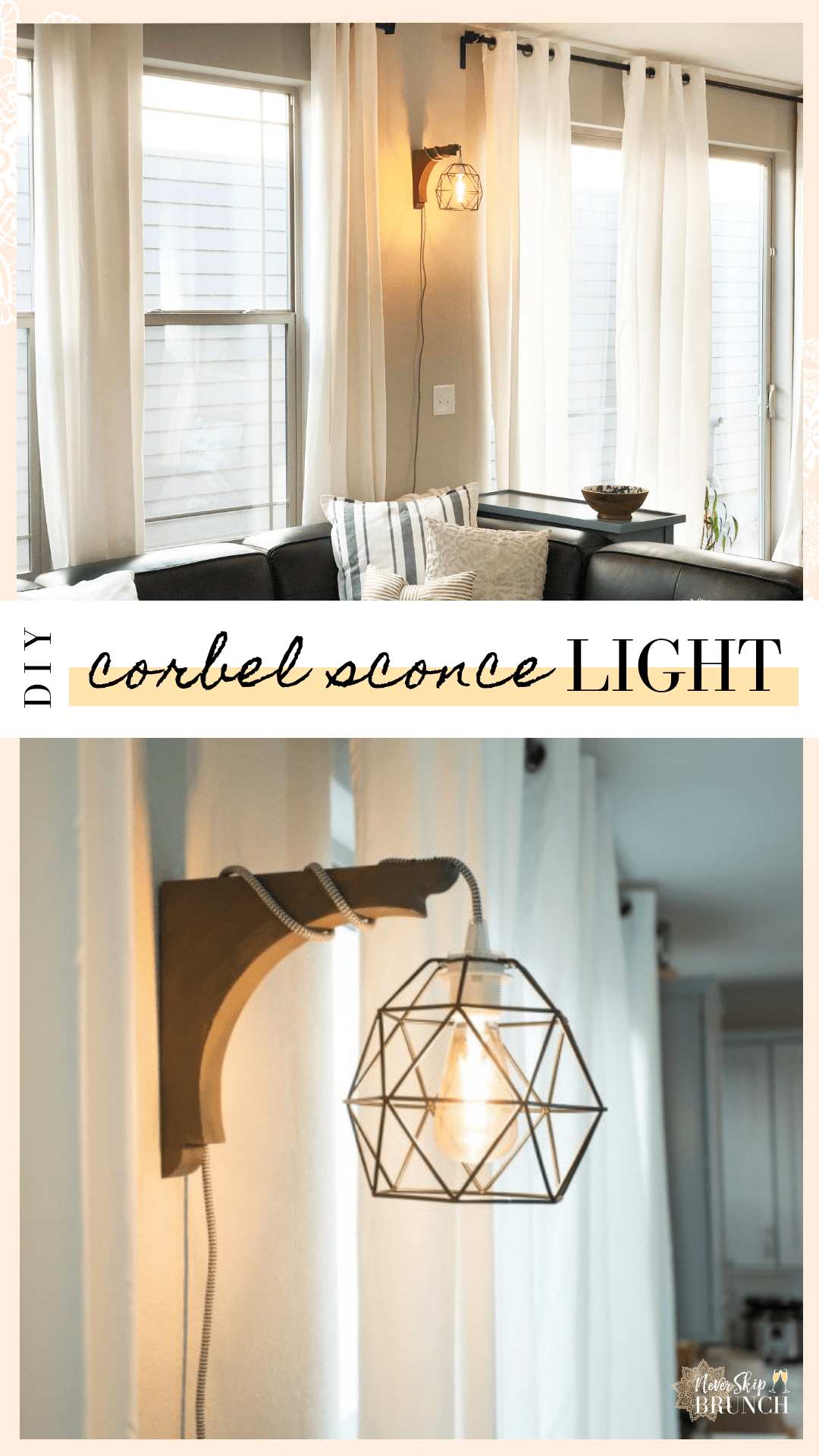 Super Easy Corbel Sconce Light Diy This Diy Corbel Light Does Not Require A Drill You Can Build This Industr In 2020 Sconce Lighting Bedroom Lighting Diy Home Decor