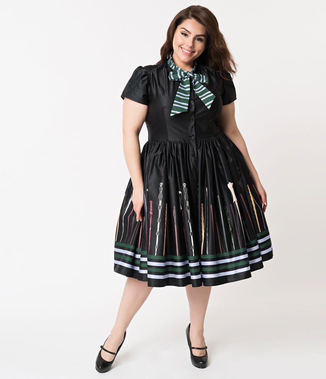 85ecfda4849 Plus Size 1950s Style Black Magic Wand Print Narcissa Swing Dress ...