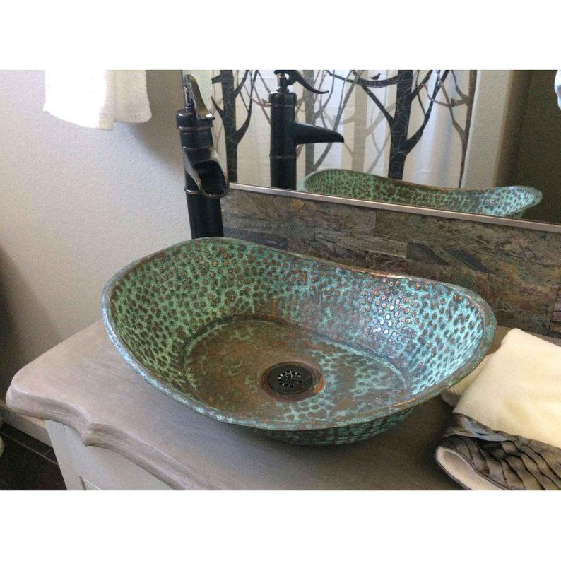 Copper Bathtub Shape Sink Vessel Above Counter Bathroom Vanity