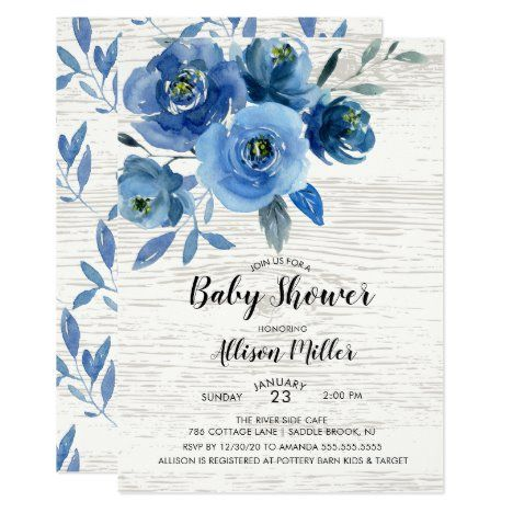 Rustic Blue Flowers Baby Shower Invitation #UniqueGifts #BirthdayGiftsUnique #PersonalizeGifts #ShopCustomizables