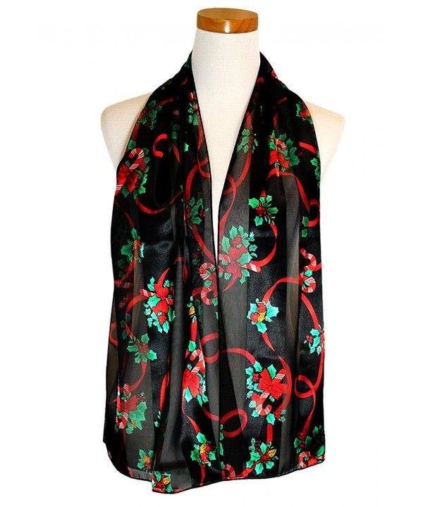Christmas Scarf Christmas Candy cane- Poinsettia Design w/ Gift Box By Knitting Factory Black-os3009 CJ187IXSCSD