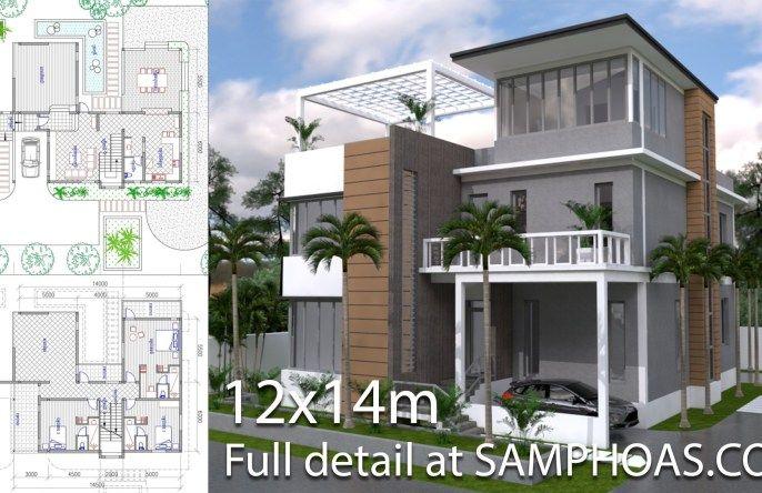 Sketchup 3 Story Narrow Home Plan 4 5x20m Samphoas Plan Narrow House Plans Narrow House Designs Architectural House Plans