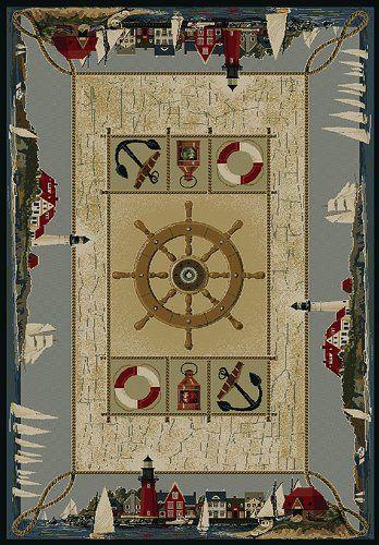 Nautical Seascapes Rug With Large Ship Wheel Nautical Rugs Area
