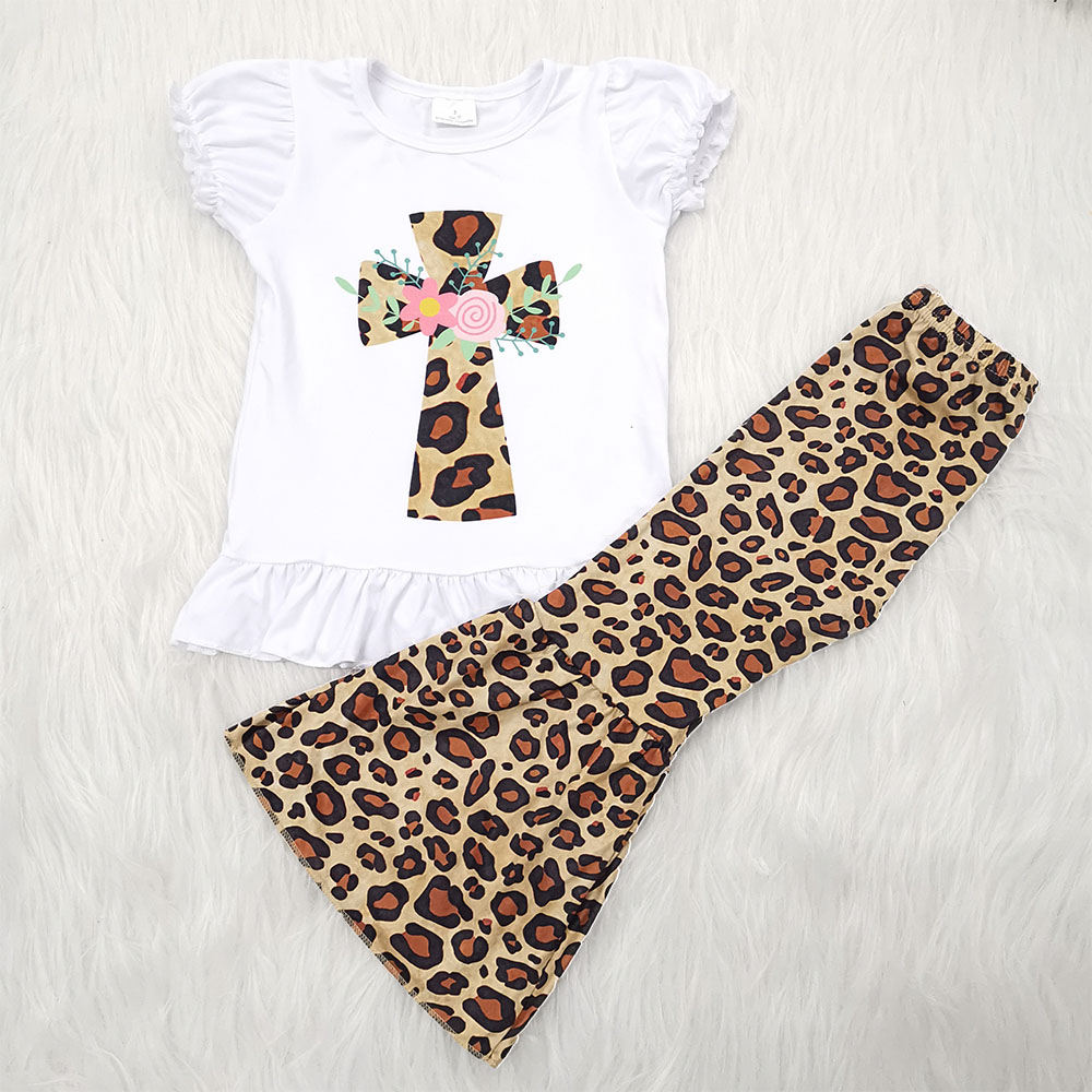 Easter Day white top leopard bell pants girl boutique