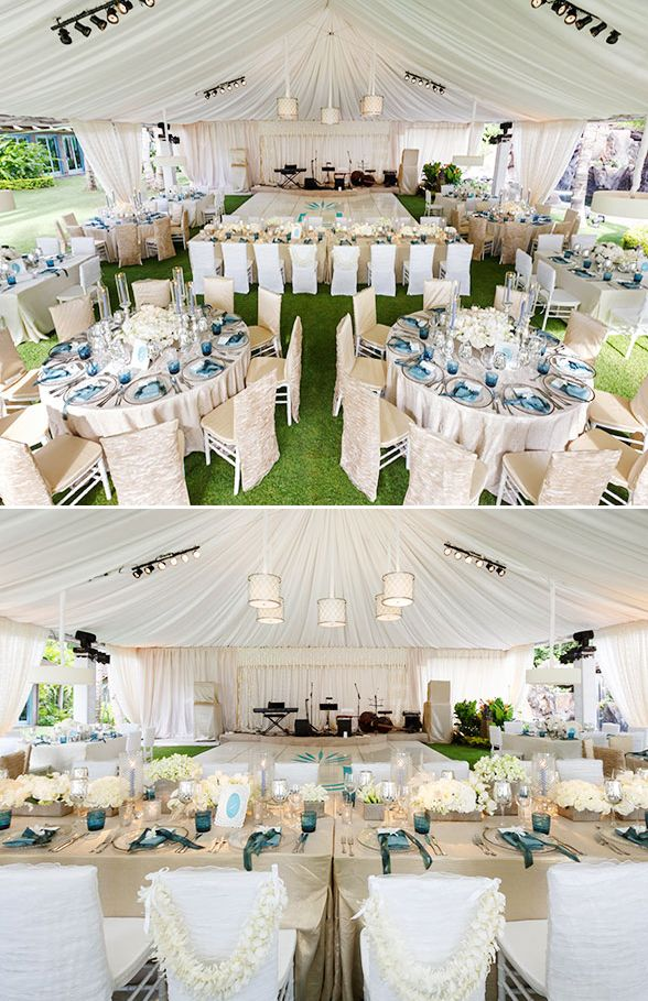 The reception of this hawaii wedding was a grand tented