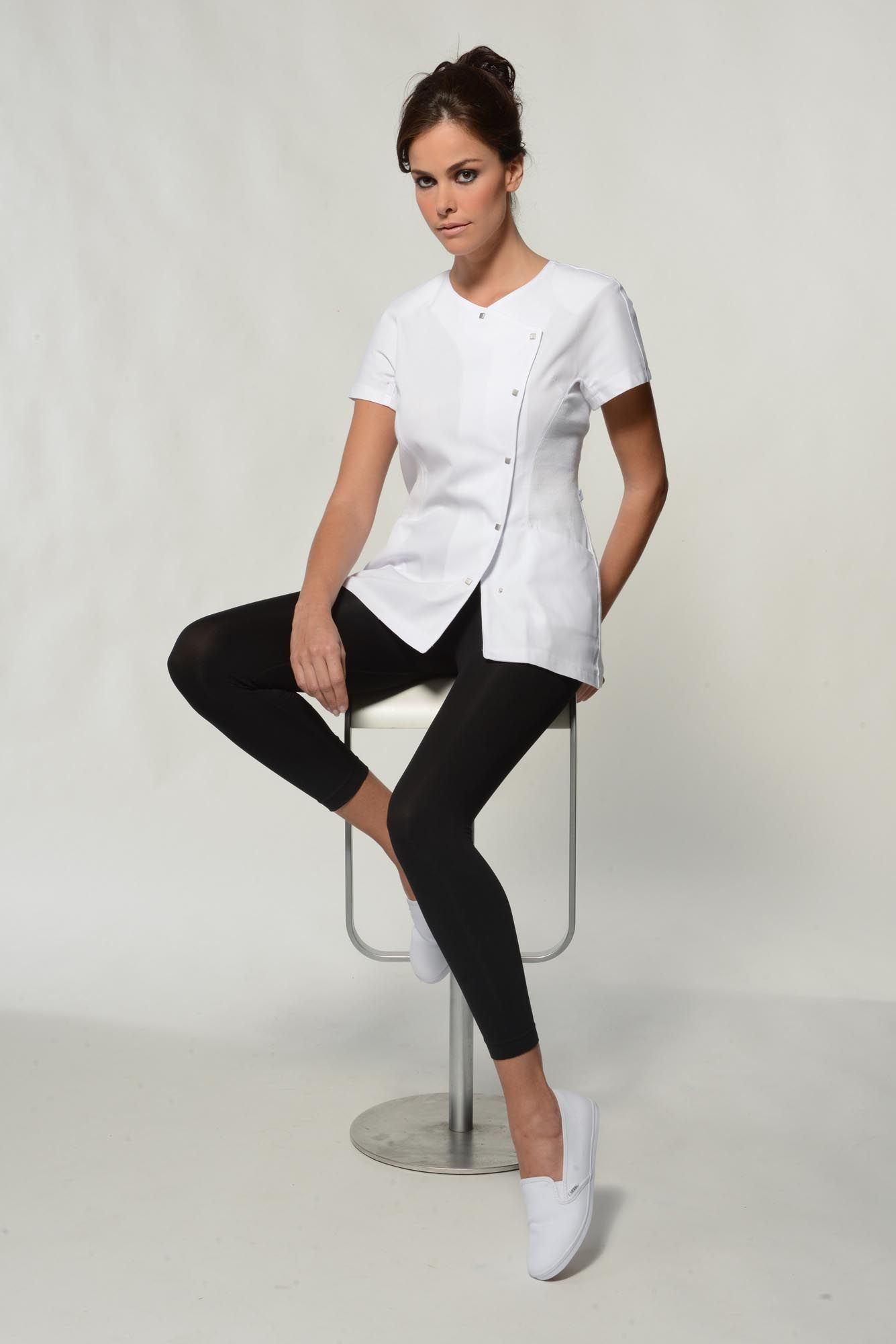 Sena white spa uniform top esti gear pinterest spa for Uniform spa salon