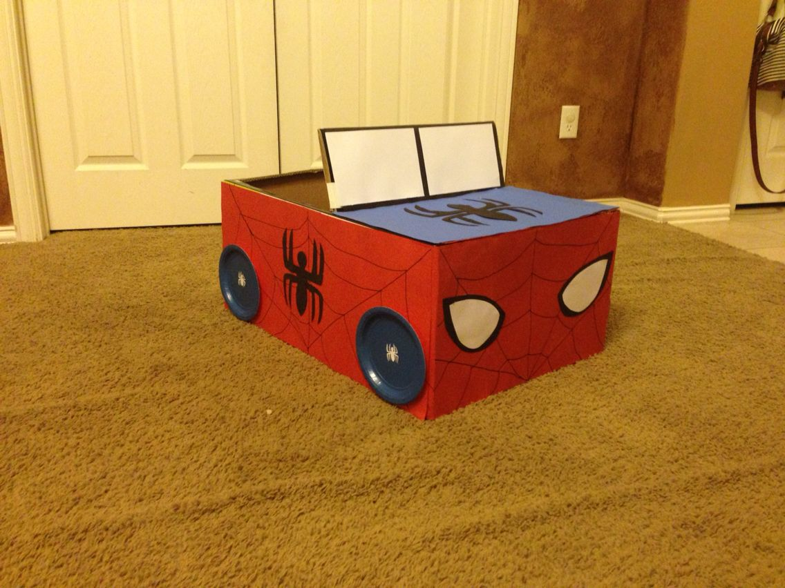 10 Ideas About Cardboard Box Cars On Pinterest: SpiderMan Box Car Made For The Kids