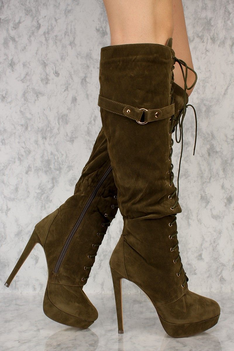 0a36cf29fbdd9 Olive Front Lace Up Platform Pump Knee High Heel Boots Faux Suede in ...