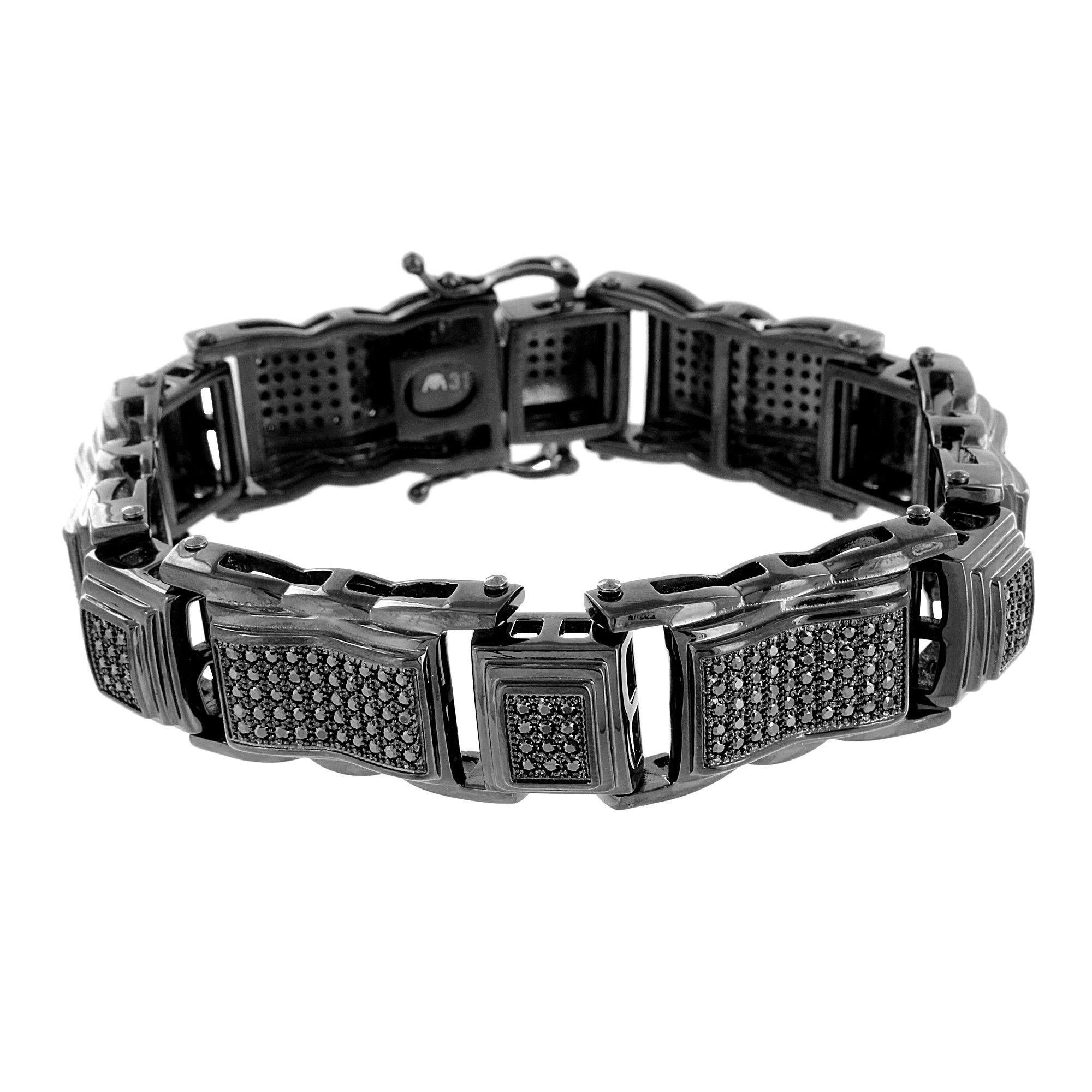 Black stainless steel bracelet black lab diamonds micro pave