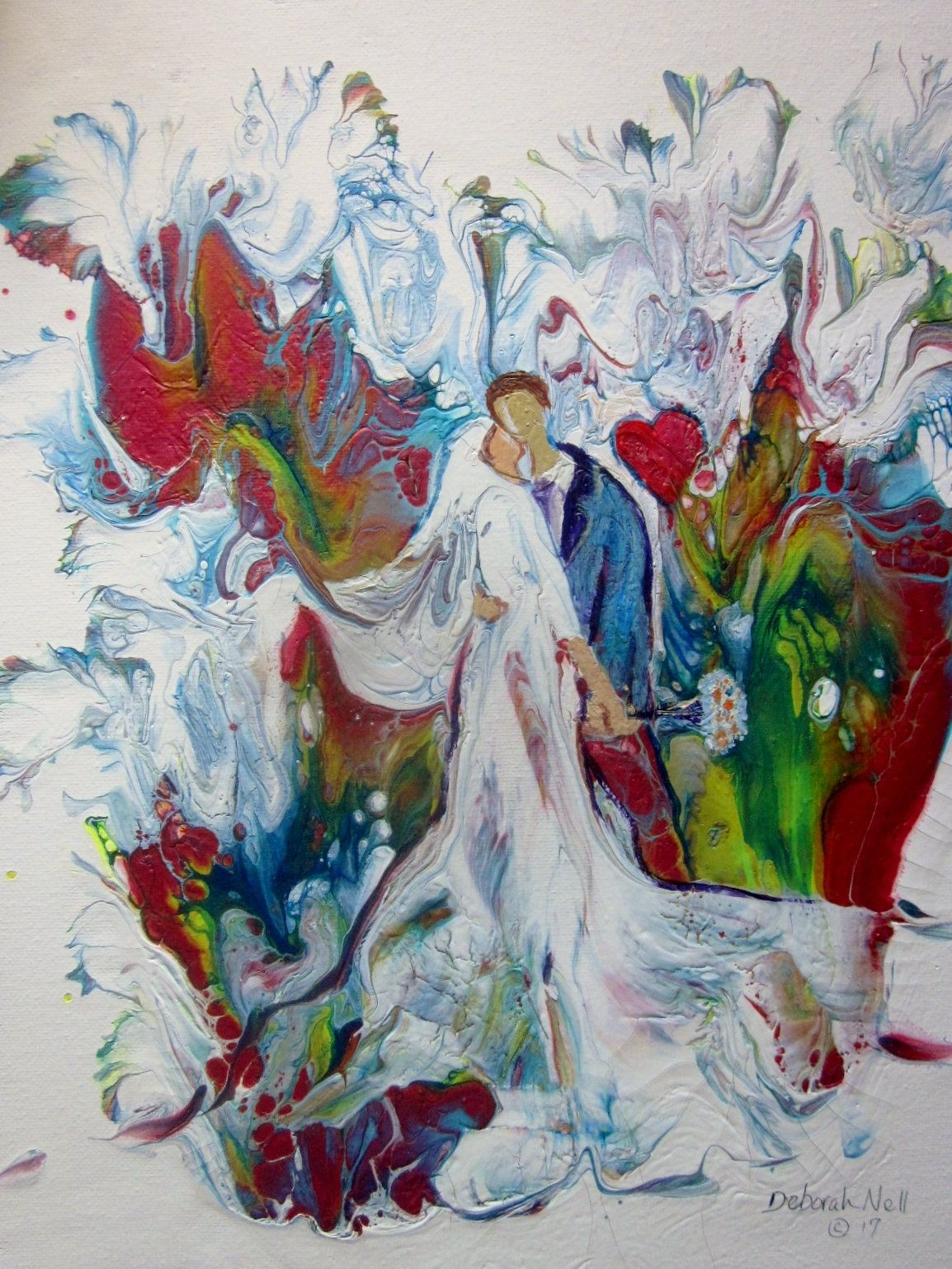 Modern Whimsical Wedding Painting Acrylic Pour Painting Faceless