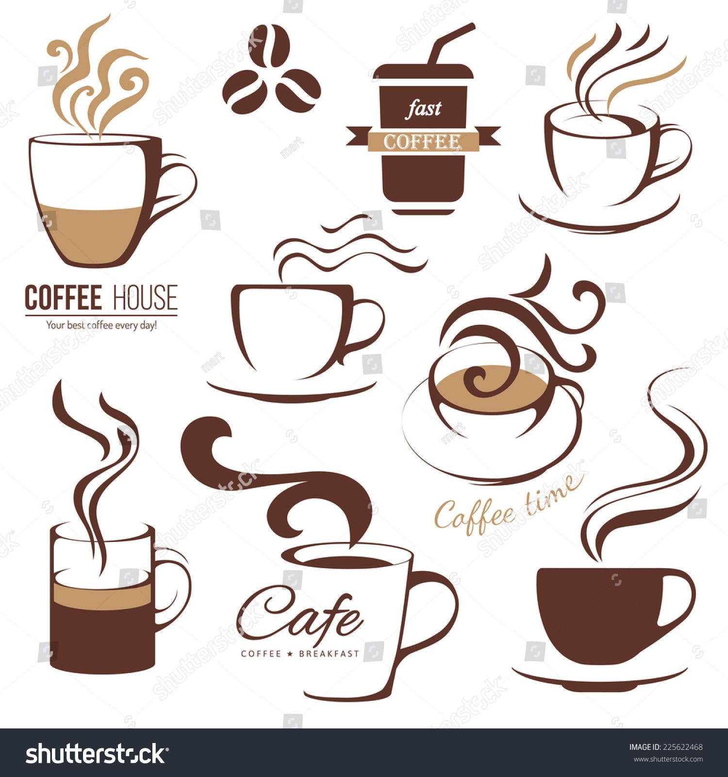 Coffee And Cafe Logo Templates Set Ad Ad Cafe Coffee Logo Set Coffee Art Coffee Logo Coffee Cup Design