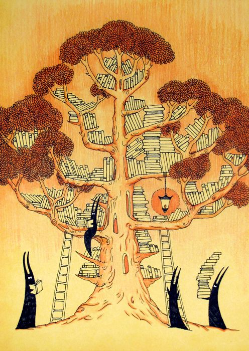 The Book Tree by yanadhyana. Year: 2014 technique: toned paper, isograph/ink, colored pencils Size: A5