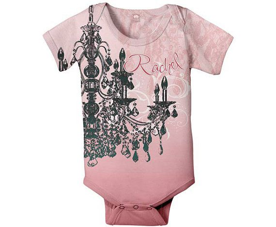 Baby Girl Bodysuit Personalized Pink Chandelier Infant Snapsuit