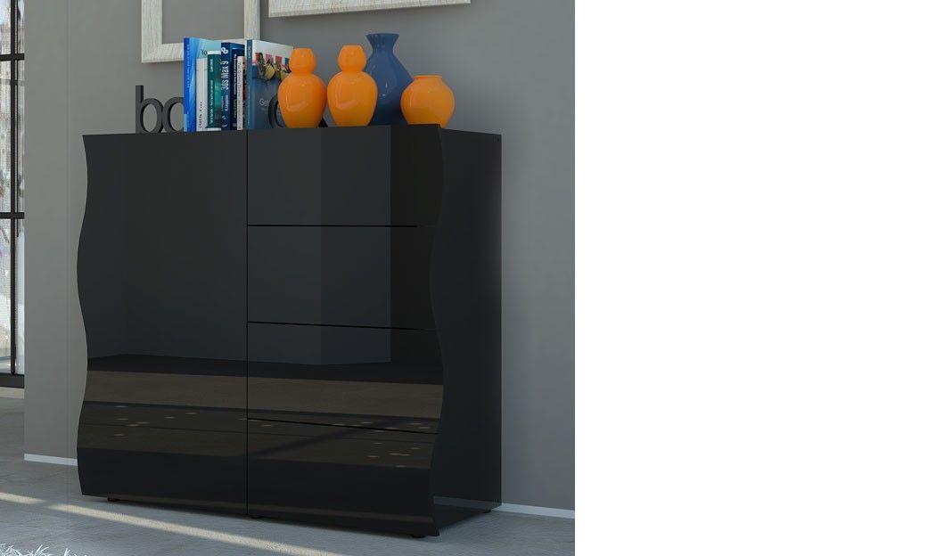 Buffet design noir laqué 1 porte et 4 tiroirs PANGO 2 | Buffet ...
