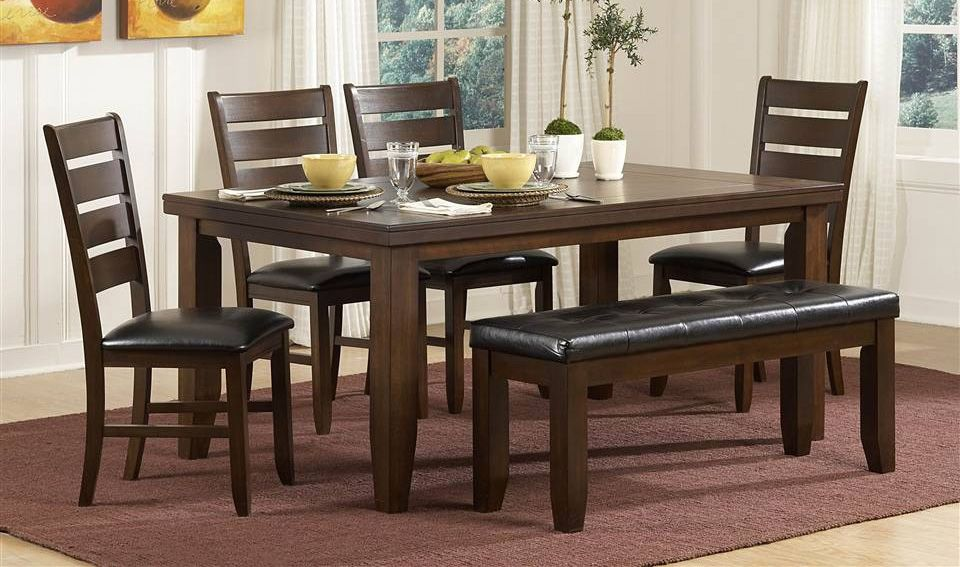6-Pc Rectangular Dining Table Set w Padded Bench & Chairs | ... on black kitchen table with bench, wooden kitchen table with bench, large kitchen table with bench, painted kitchen table with bench, wood kitchen table with bench,