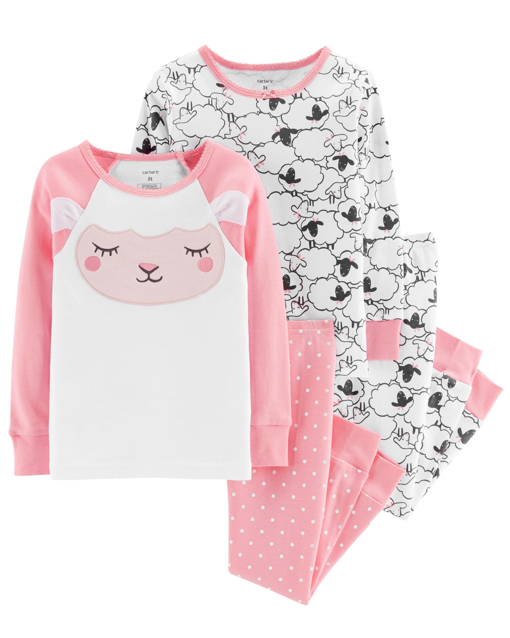 15c95a1f42f8 4-Piece Sheep Snug Fit Cotton PJs