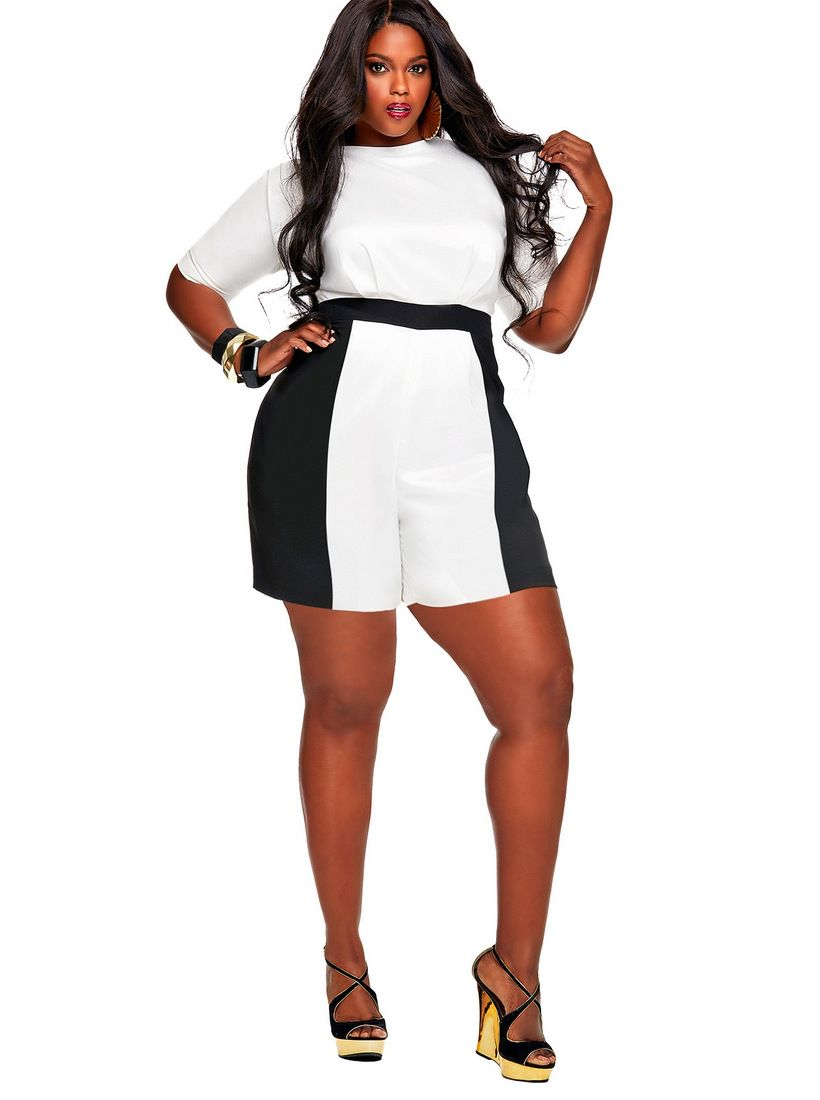 Make a statement in these Monif C Plus Size Rompers | Crochet lace
