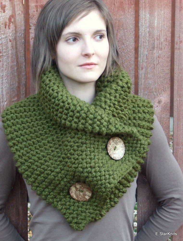 chunky button cowl shawl neck warmer - cilantro - the anouk ...