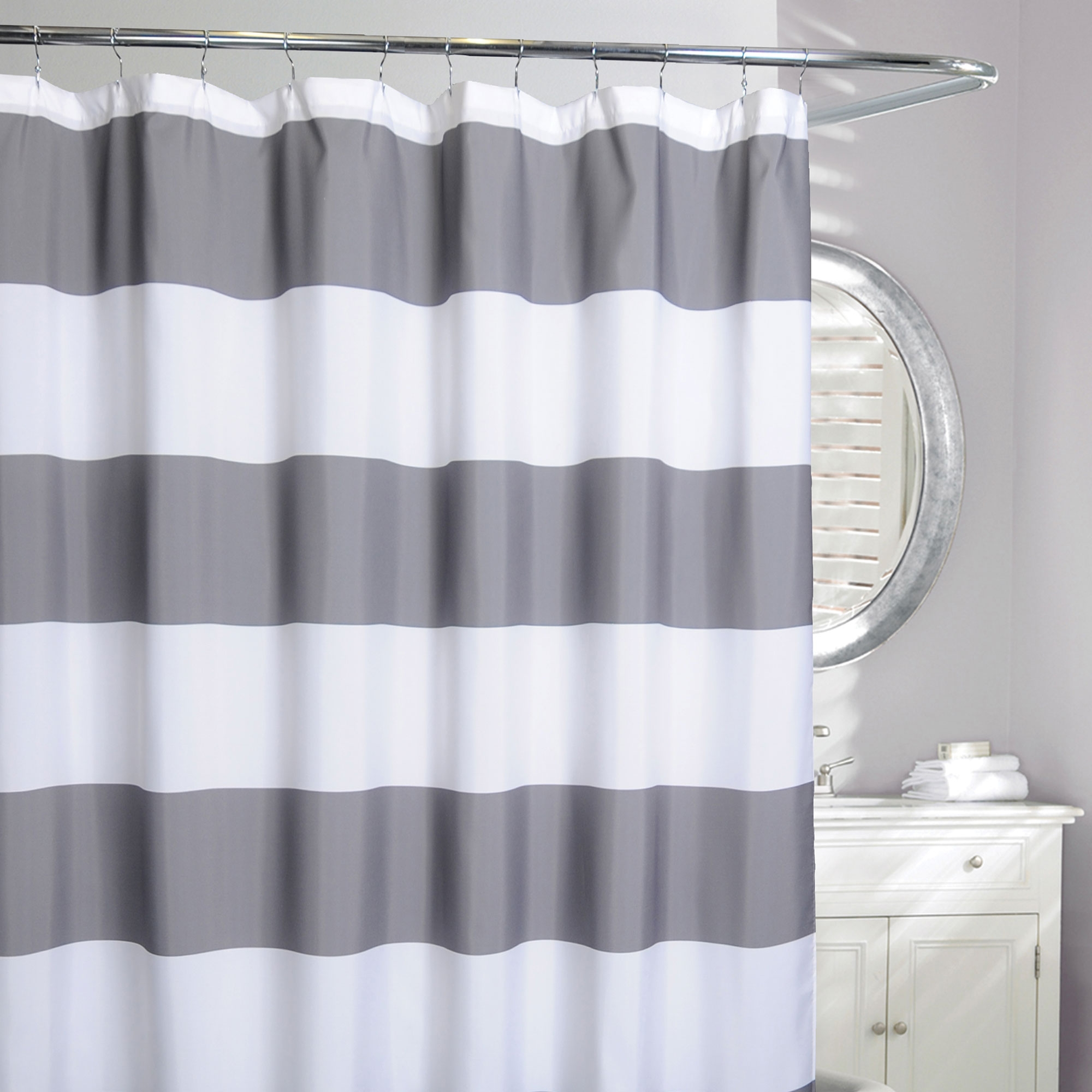 Linen Chest Rail Stripe Fabric Shower Curtain Fabric Shower