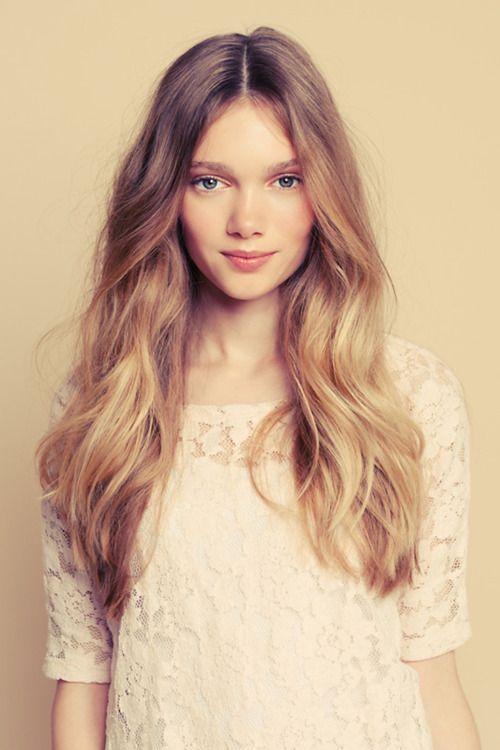 so pretty! love her hair and skin tone!