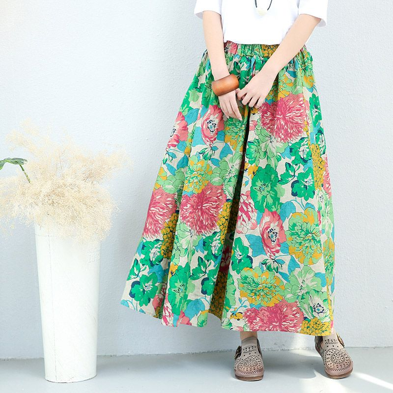 Summer 2017 Flowers Printed Skirt  Linen Loose Maxi Skirt    #flowers #prints #green #maxi #skirt #flare #summer