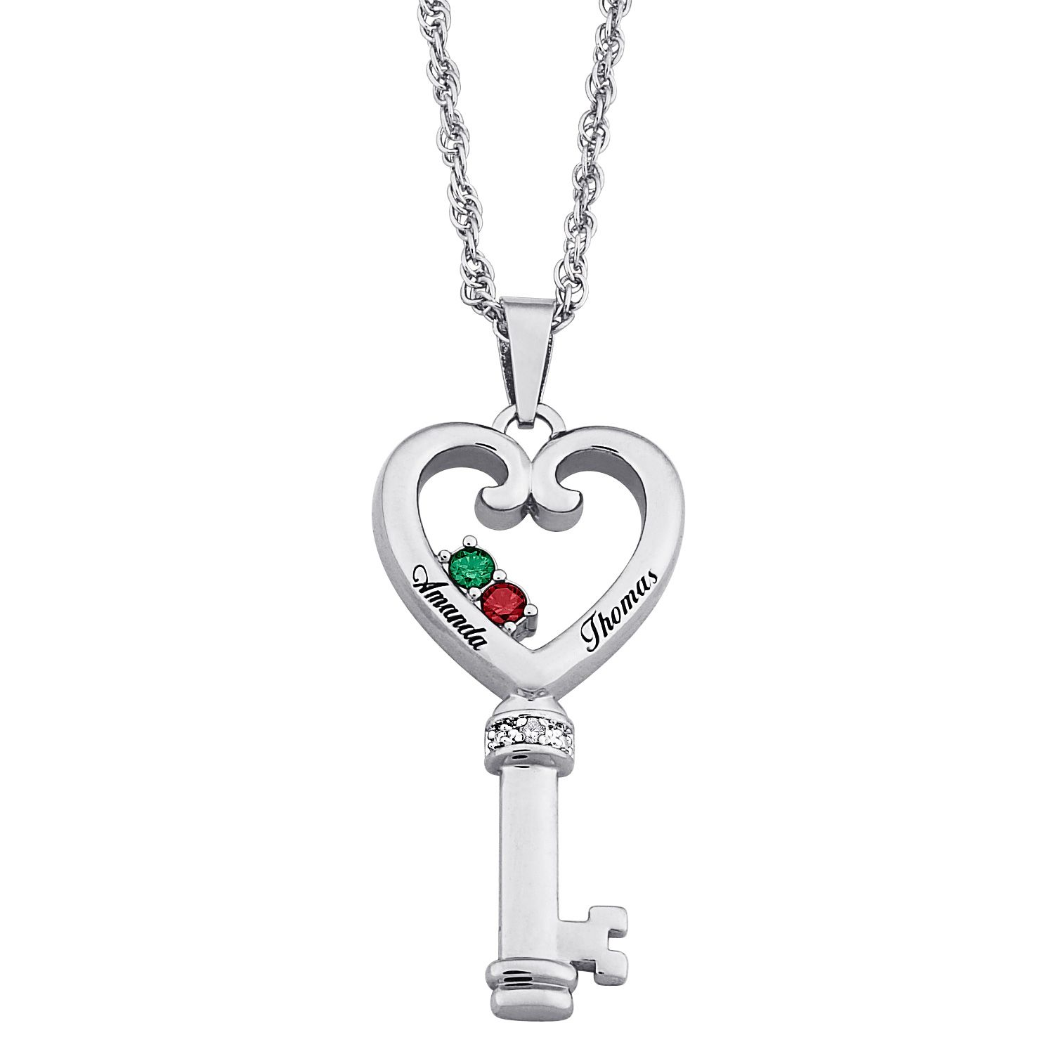 Couples name u birthstone heart key necklace with diamond accent