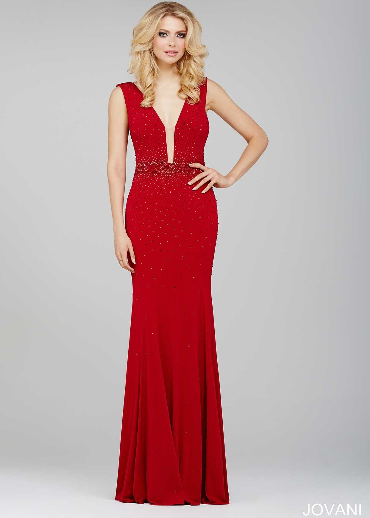 Jovani 32024 Red Ravishing Fit Flare Jersey Prom Dress 2016 Prom