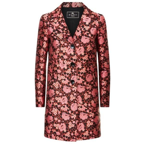 Etro Floral Jacquard Coat (100.420 RUB) ❤ liked on Polyvore featuring outerwear, coats, red coat, floral coat, etro, jacquard coat and etro coat