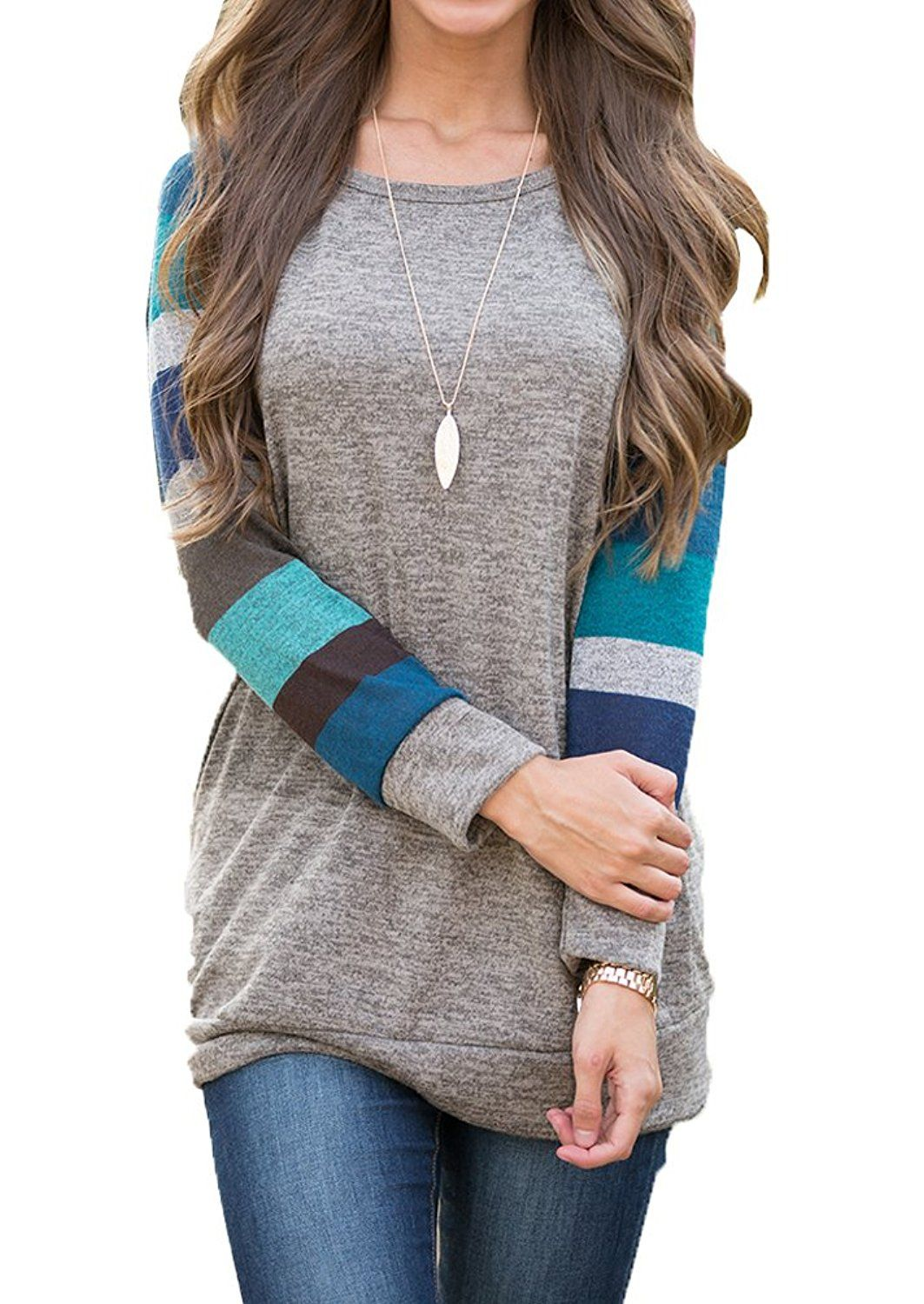 446ad263fa POSESHE Women's Cotton Knitted Long Sleeve Lightweight Tunic Sweatshirt Tops  at Amazon Women's Clothing store:
