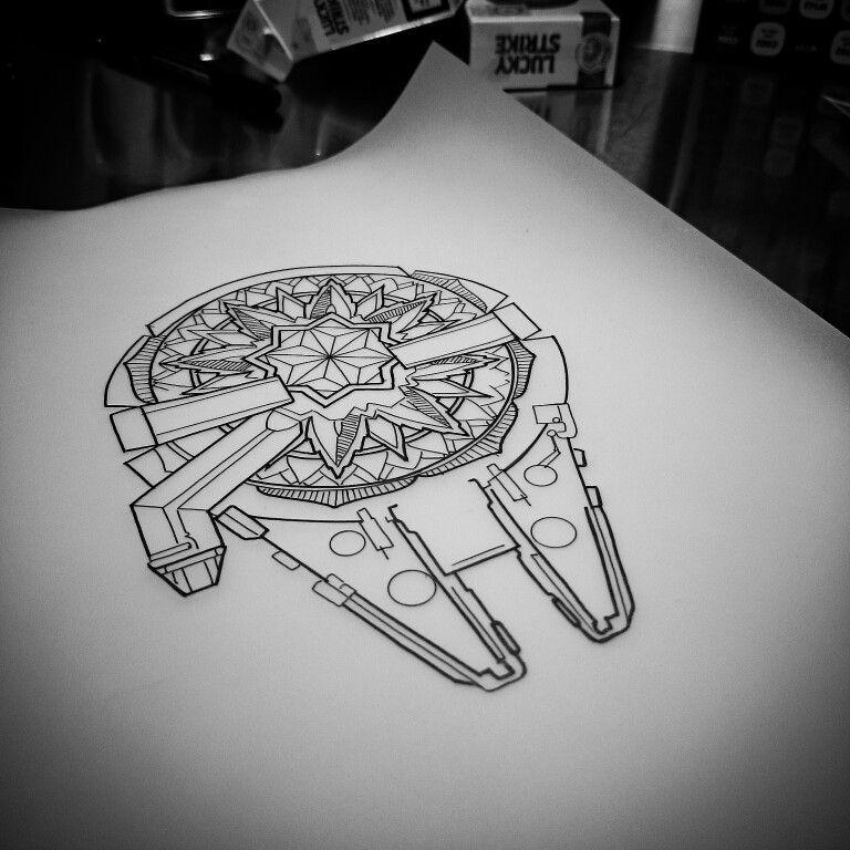 Millennium Falcon Mandala By Justin Eaton Falcon Tattoo