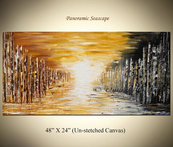 PANORAMIC SEASCAPE PAINTING original art by oilpaintingsartwork, $220.00