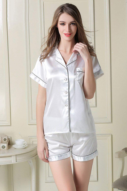8820d1fdab NANJUN Women's Satin Pajamas Sleepwear Short Button-Down Pj Set(Black, XXS)  at Amazon Women's Clothing store: